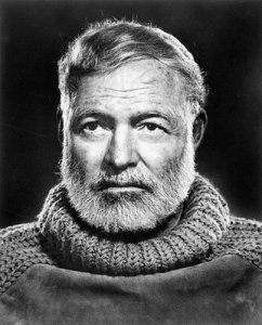 Hemingway, rocking a chunky knit to give his best salty old sea dog impression